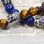 Tiger Eye Bracelet Buddha Healing Jewelry with Hematite Beads, True Zen Art from TIGEREYES