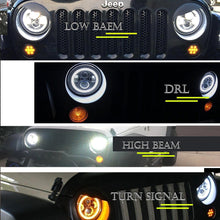"DOT Approved 7"" Round Black LED Headlight with High Low Beam White DRL Amber Turn Signal for Jeep Wrangler JK TJ LJ CJ Hummer H1 H2 (Pair)"