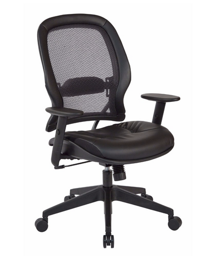 Space Seating Executive High Back With Adjustable Angled Arms Black Bonded Leather Seat