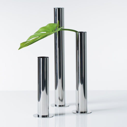 Stainless Steel Pipe Vase Set of Three - Silver