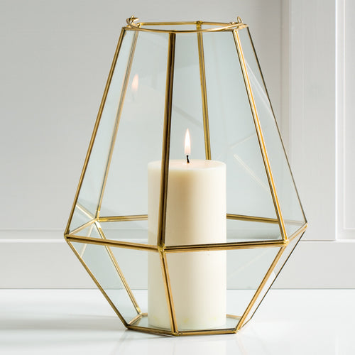 Oro Hexagon Glass Hurricane with Handle - Tall