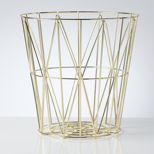 Diamond Weave Storage Basket Small - Gold