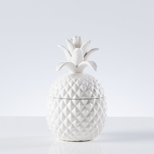 Pineapple White Ceramic Canister