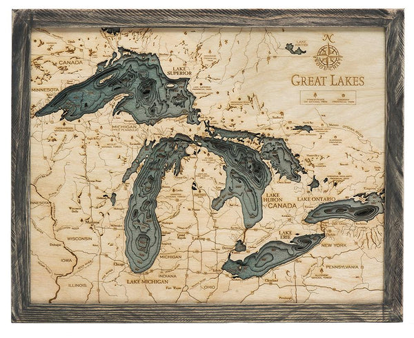 "Great Lakes 3-D Nautical Wood Chart, 16"" x 20"""