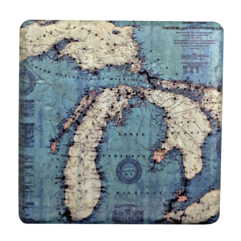 Cyan Vintage Michigan Coaster