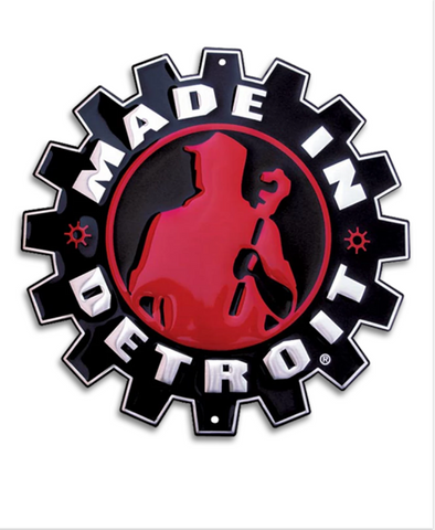 Made in Detroit Gear Metal Sign