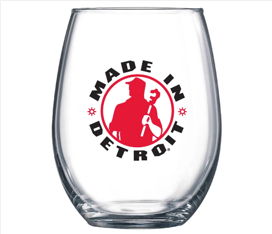 Made in Detroit Stemless Wine Glass