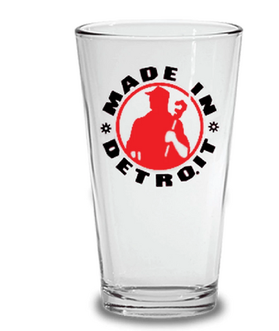 Made In Detroit Pint Glass - Black & Red