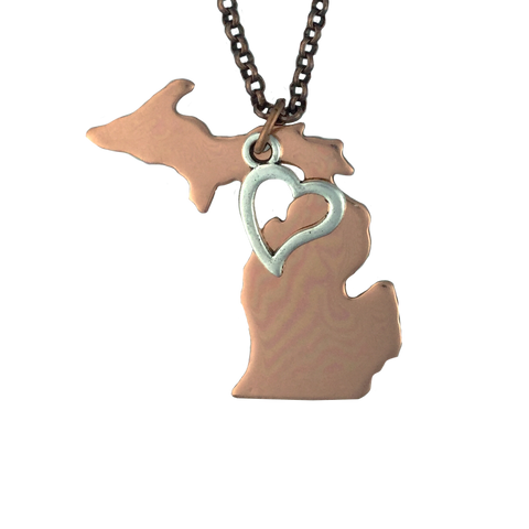 Copper MI with Heart Necklace