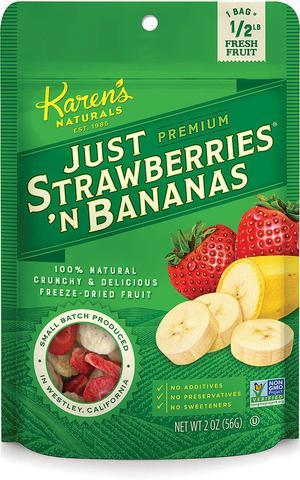 Dried Fruit Snack - Strawberries & Bananas - Karen's Naturals