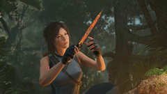 Lara Croft with a large knife