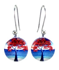 Blue New Zealand Pohutukawa Tree Earrings