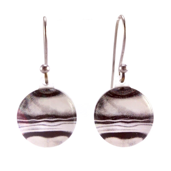 Black & White Round Marble Earrings