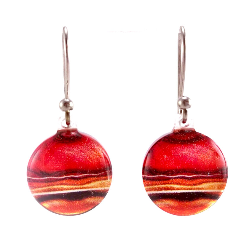 Red Round Marble Earrings