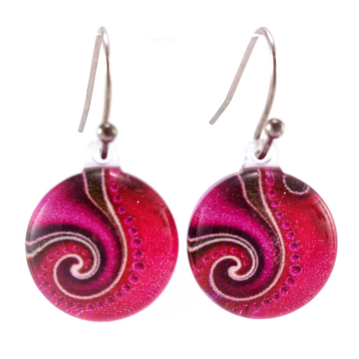 Pink Dot Wave Earrings