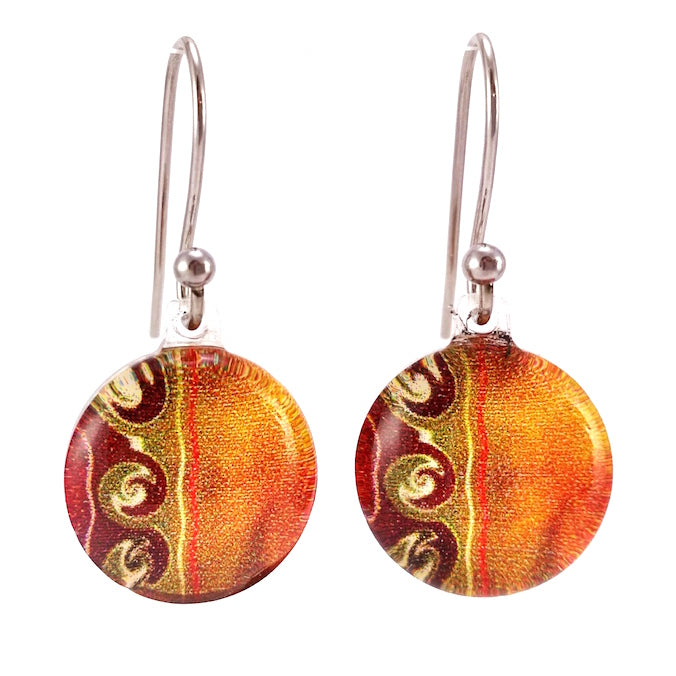 Orange 3 Waves Earrings