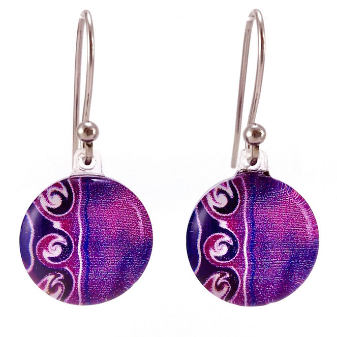 Purple 3 Waves Earrings