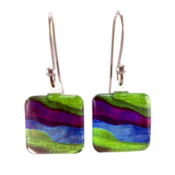 Green Candy Stripes Earrings