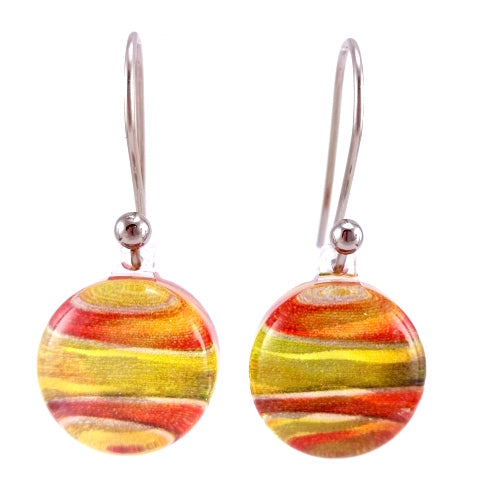 Orange Foiled Round Earrings