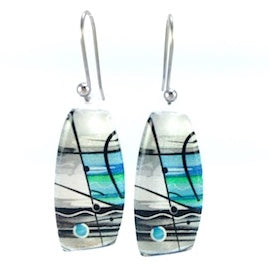 Turquoise Trapeze Silver Earrings