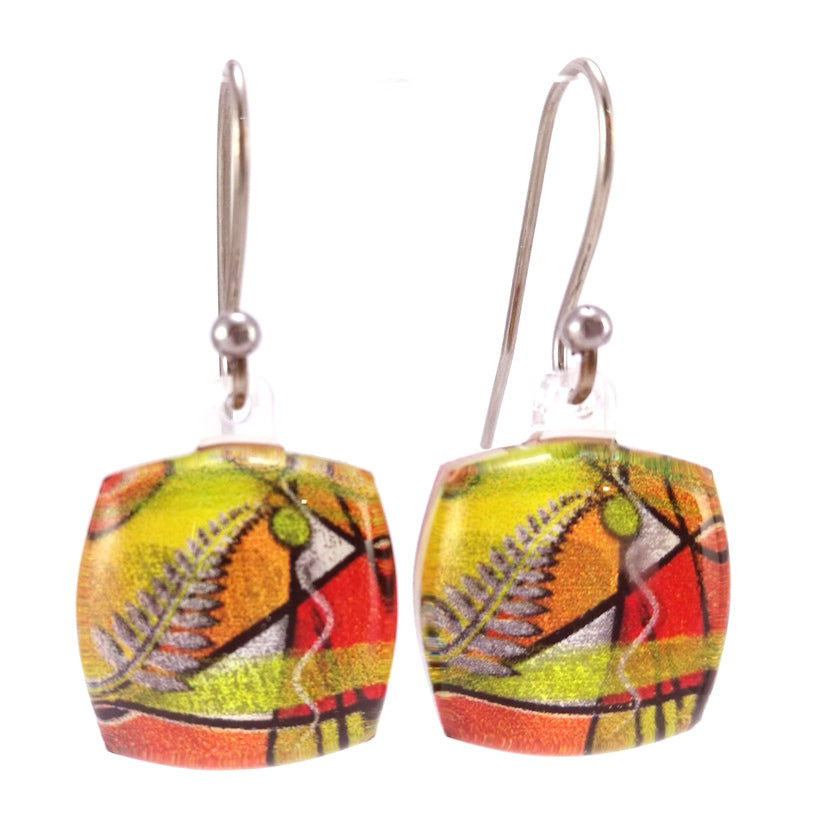 Orange Exotic Fern Earrings