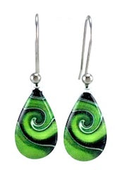 Green Mystic Wave Earrings