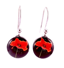 Black Poppy Earrings