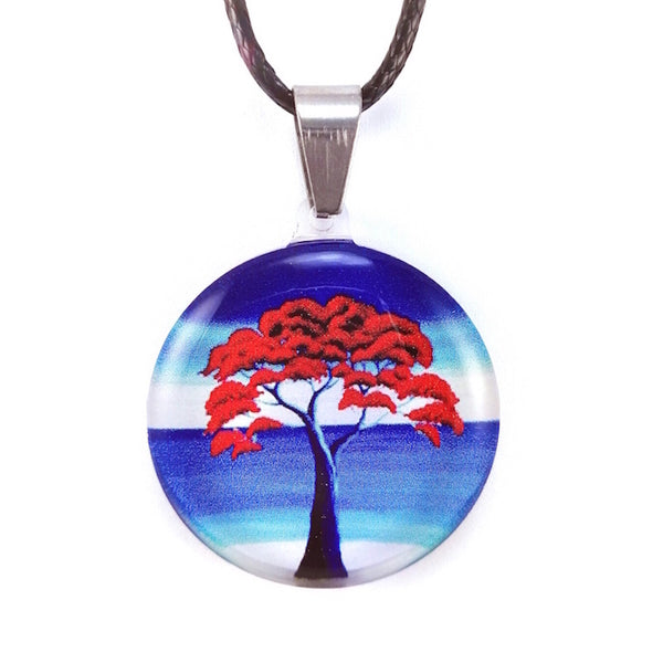 Blue New Zealand Pohutukawa Tree Pendant