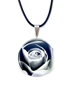 Black & White Rose Pendant