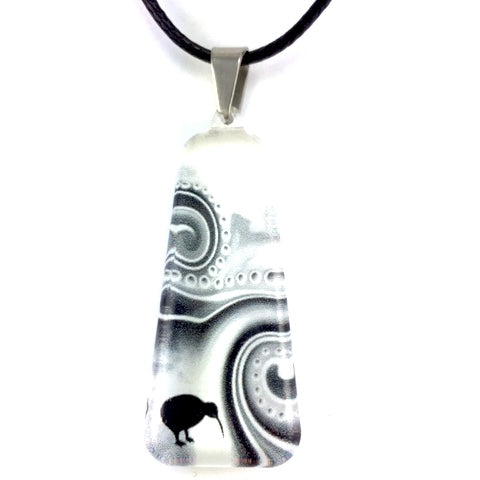 Black & White Kiwi Dot Pendant