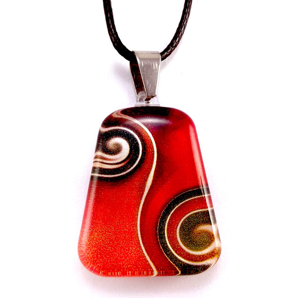 Red Two Waves Pendant