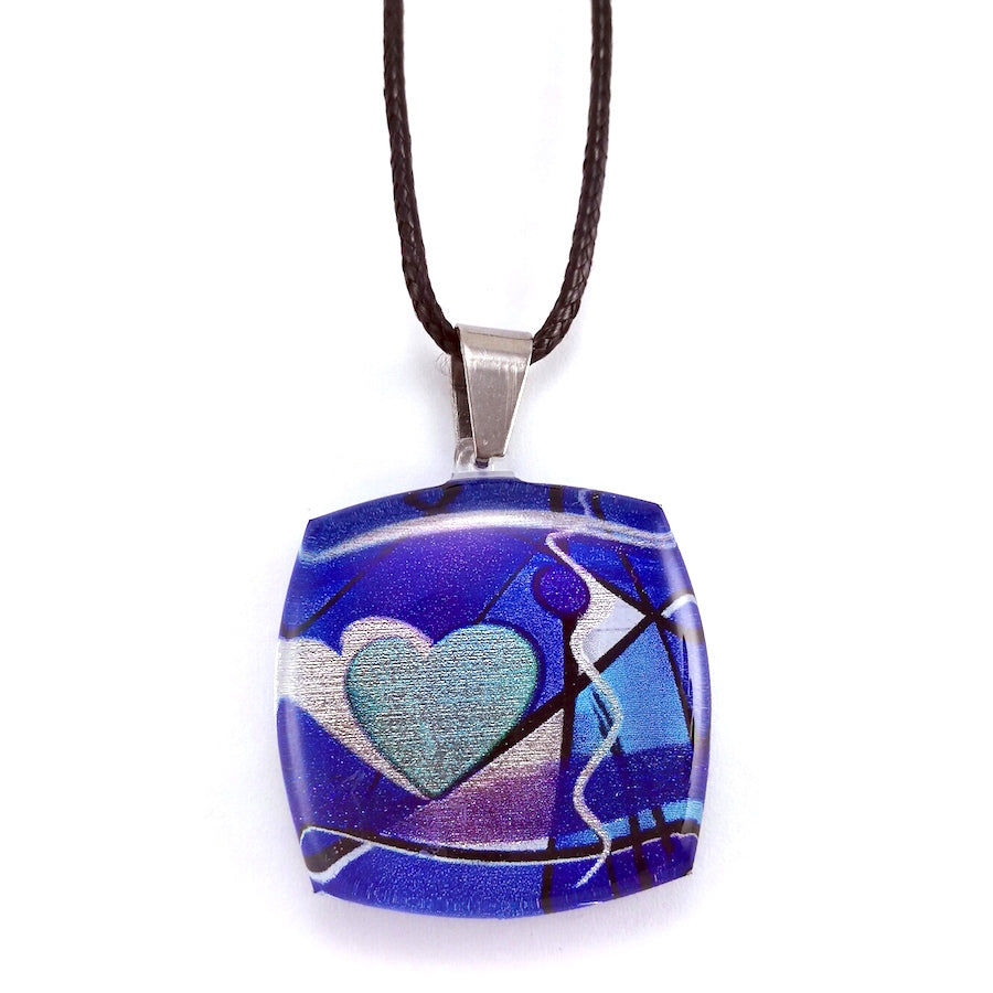 Blue Exotic Heart Pendant