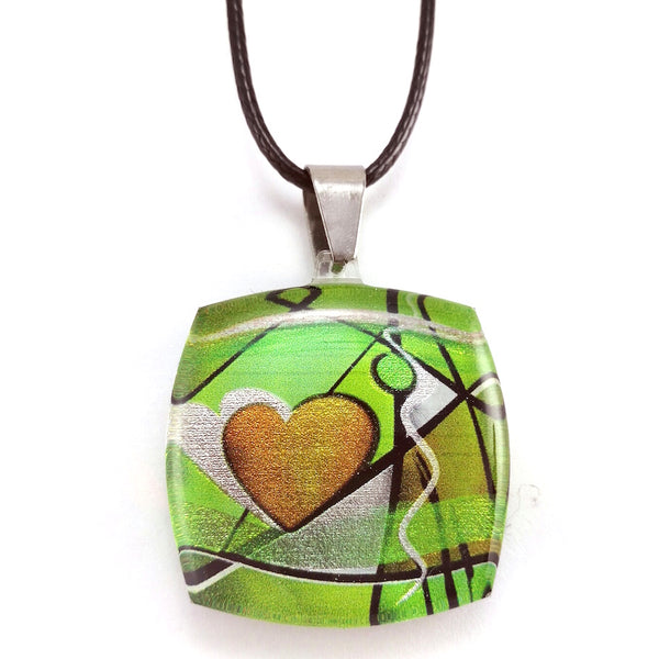 Green Exotic Heart Pendant