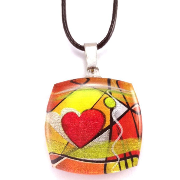 Orange Exotic Heart Pendant