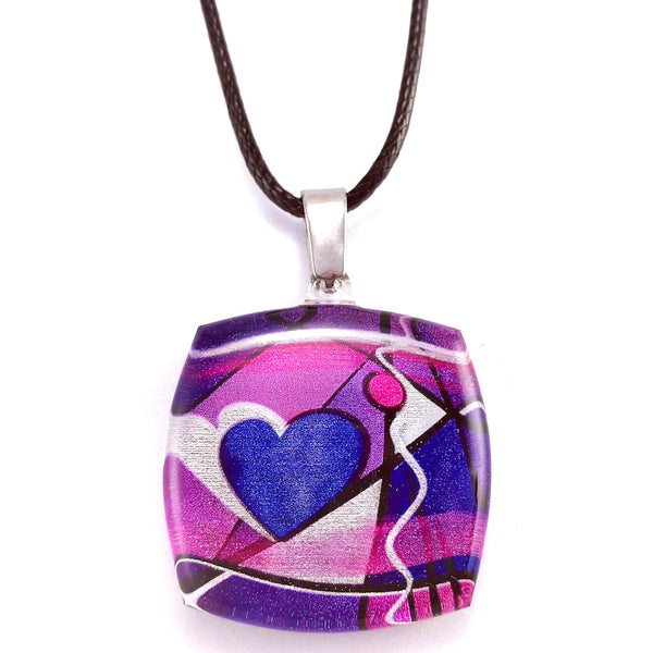 Purple Exotic Heart Pendant