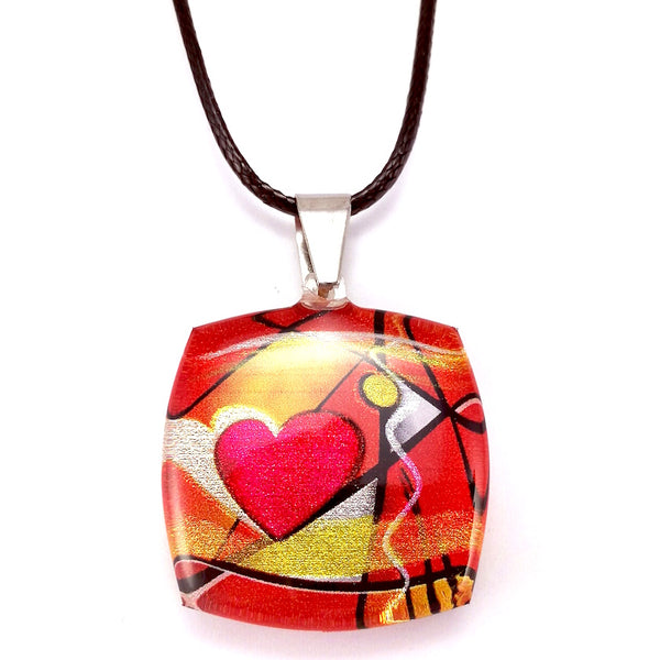 Red Exotic Heart Pendant