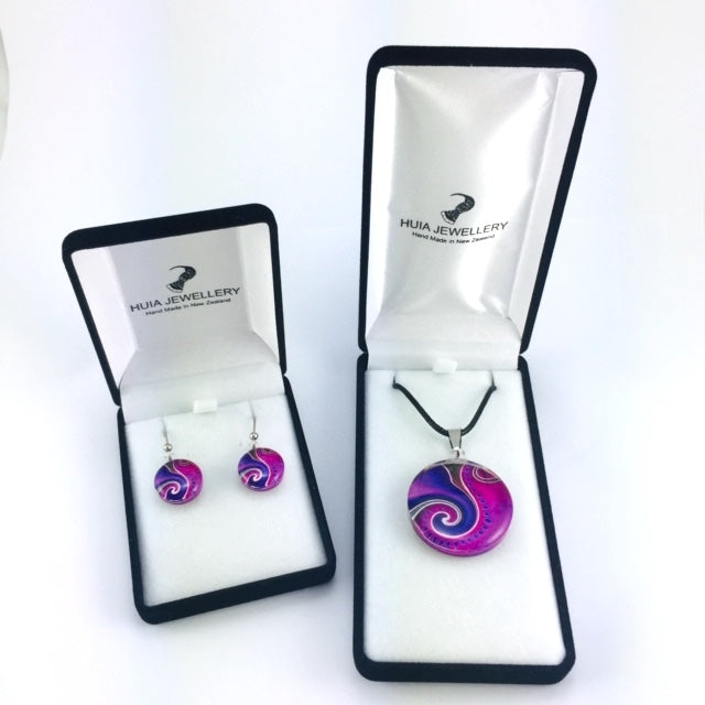 Purple Dot Wave Pendant & Earring Set