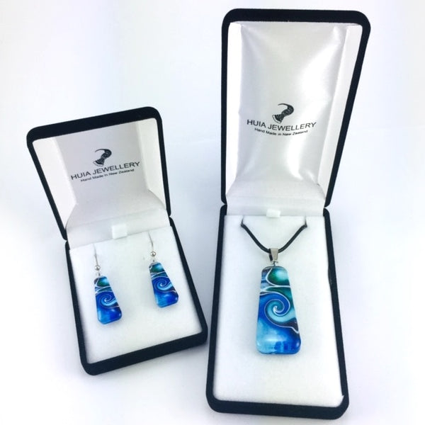Blue Mystic Wave Pendant & Earring Set