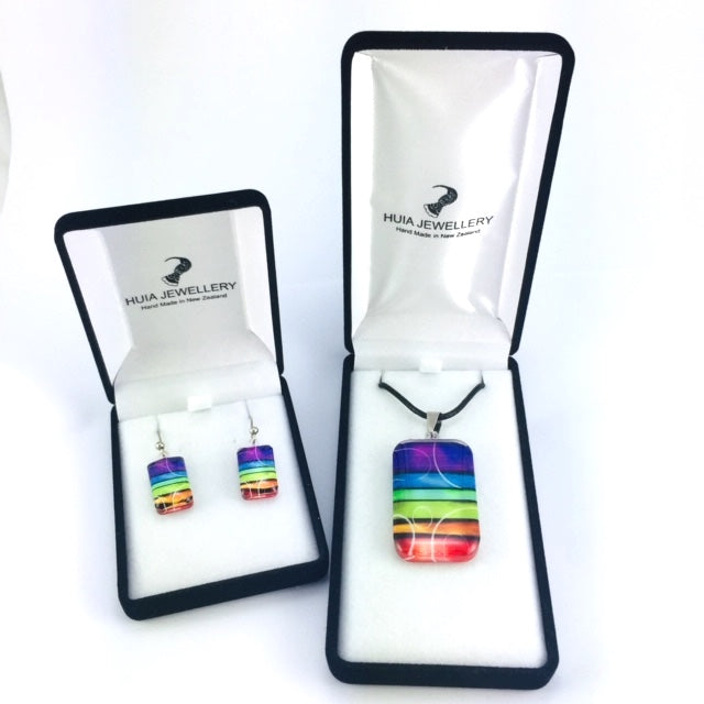 Rainbow Pendant & Earring Set