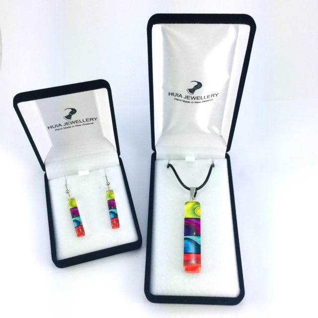 Long Rainbow Pendant & Earring Set