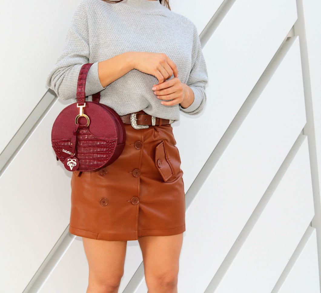 Cute Round Leather Bag