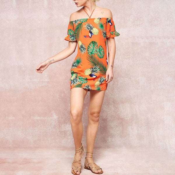 Tropical Beach Island Toucan Mini Dress