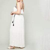 Strappy Gladiator Maxi Dress With Tassel Tie