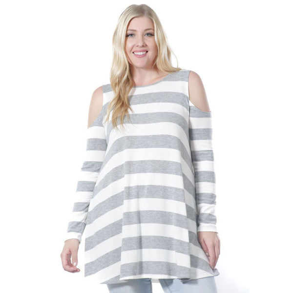 Striped Cold Shoulder Long Sleeve Tunic