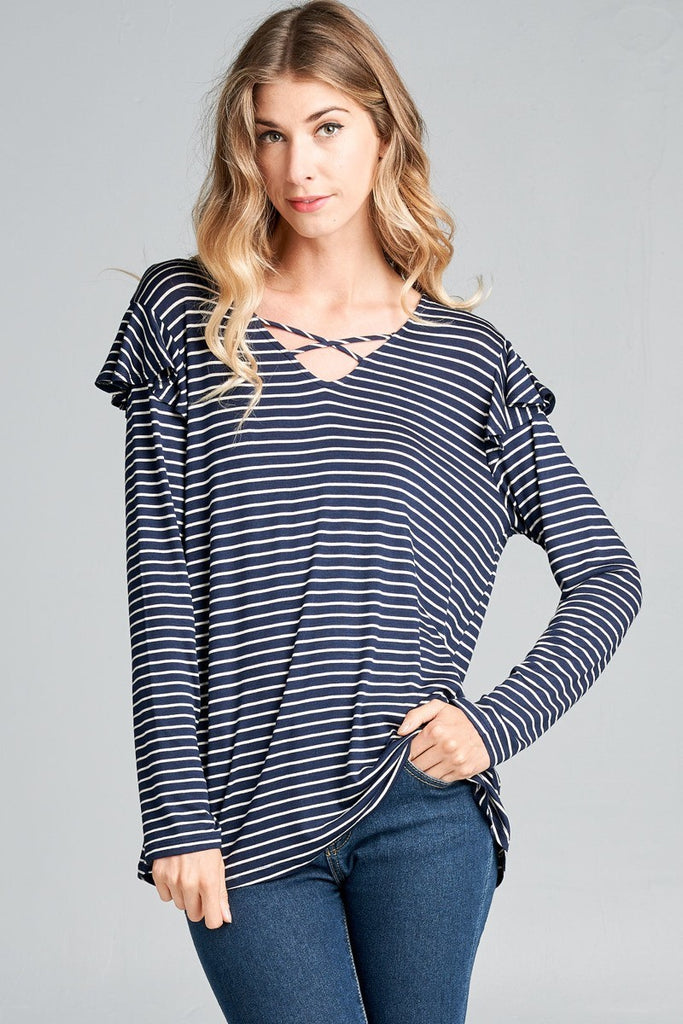 Emeline Top - Navy/White