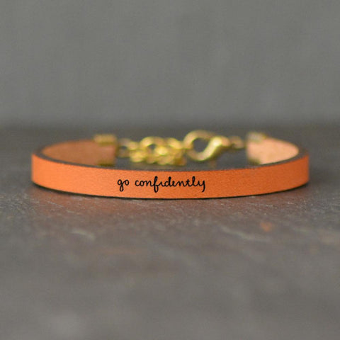 Leather Bracelet - Go Confidently - Various Colors