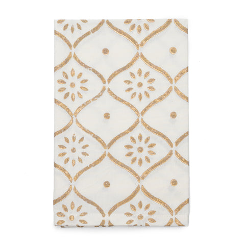 Gold Bloom Napkins (Set of 4) - White