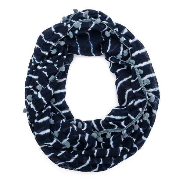 Shibori Infinity Scarf with Pom Trim