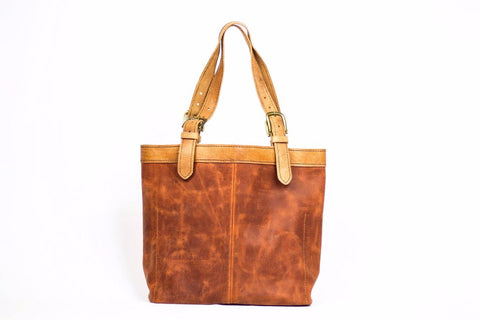 Alma Leather Tote - Cognac with Leather Strap