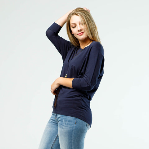 Asha Dolman Sleeve Top - Navy